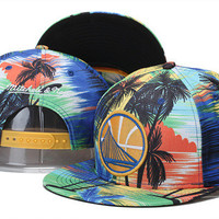 Golden State Warriors Logo Palm Tree Multi Color Design Mitchell & Ness Snap Back Hat