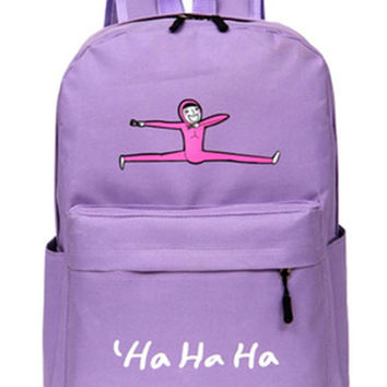 Cute Purple Jumping Man Canvas Backpack