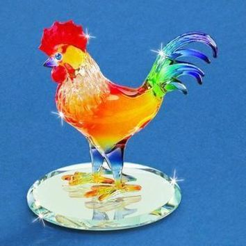 Glass Baron Sunrise Rooster Figurine