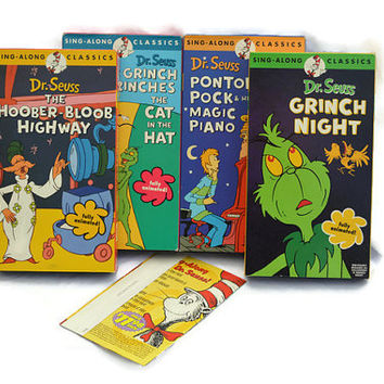 Free US Shipping, Dr Seuss VHS Sing-Along Classics, Grinch Night, Hoober-Bloob Highway, Grinch Grinches Cat Hat, Pontoffel Pock Magic Piano