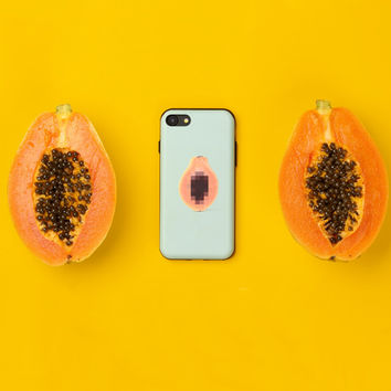 Dirty Papaya Mosaicify iPhone Case With Card Holder