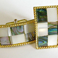 Checkerboard Cufflinks, Abalone and Mother of Pearl, Gold Setting, Rectangle, Cuff Links, Wedding, Formal, Black Tie