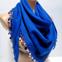 Bright sequined royal blue scarf, 2012 summer trends, cotton fabric scarf, Turkish cheesecloth, yemeni scarf, authentic, romantic,