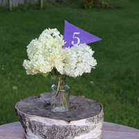 Purple Table number, Pennant Flag Table Number Rustic or Simple Wedding Decor. On bamboo stick purple weddings cadbury purple