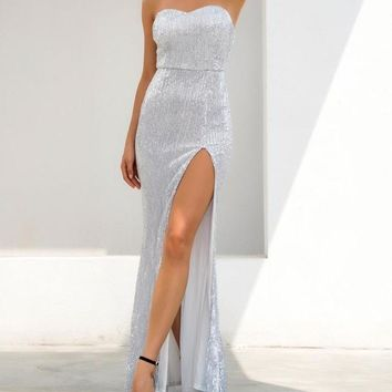 Gamesha Silver Maxi Gown