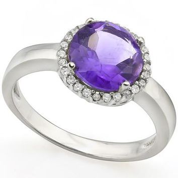 Sterling Silver Genuine Round Amethyst & Cr. White Sapphire Halo Ring