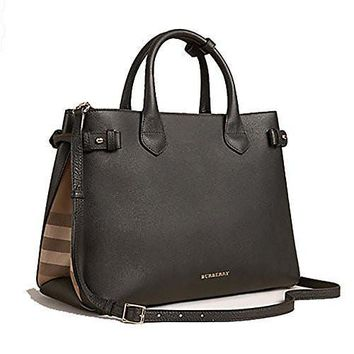 SPBEST Tote Handbag Burberry in Leather and House Check Black