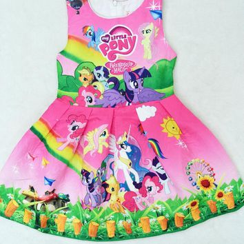 2017 New My Baby Girls Dress Children Girl little Pony Dresses Cartoon Princess Party Costume Kids Clothes Summer Clothing