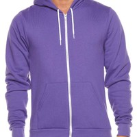 MENS FLEX FLEECE ZIP HOODIE BY AMERICAN APPAREL IN PURPLE