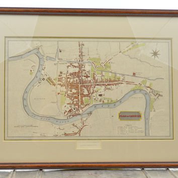 Original Colored 1817 Map of Chester England Cartouche Title Framed