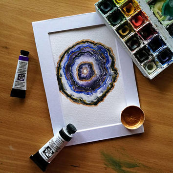 Geode III: Purple, Blue, and Gold | Original Watercolor Painting | Decor