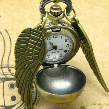 Golden Snitch Harry Potter pocket watch w05 spherical wings pendant necklace antique bronze  fashion