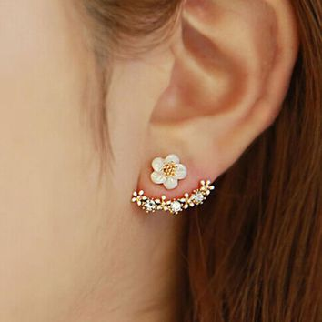 SUSENSTONE 1Pair Women Fashion Flower Crystal Ear Stud Earrings Earring Jewelry Gift