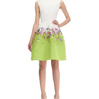 Oscar de la Renta Floral-Skirt Silk Colorblock Dress