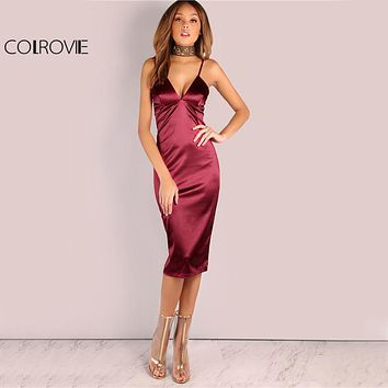 Burgundy Satin Party Club Dress Deep V Neck Women Summer Sexy Bodycon Strap Ruched Ladies Midi Dress
