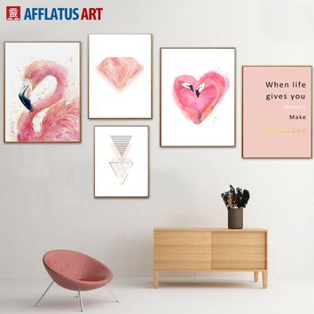 Flamingos Diamond Quote Wall Art Canvas Painting Nordic Posters And Prints Wall Art Print Wall Pictures For Living Room Decor