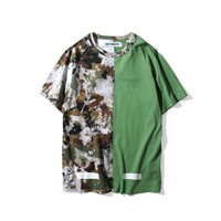 spbest Off White Camo Stripe Patchwork T-Shirt