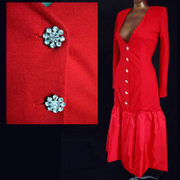 Vintage 80s Hot RED Jersey Party Dress LOW CUT Rhinestone Buttons 38 B
