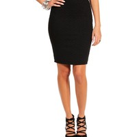 Black Quilted Pencil Skirt