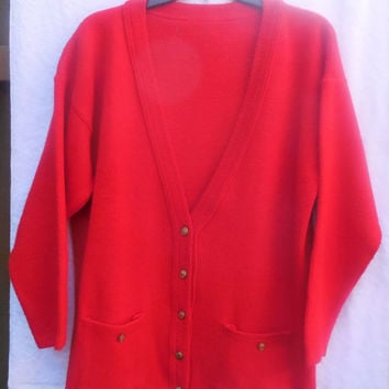 Vintage Woman's Sweater College Point Button Down Red 1970s Size Large