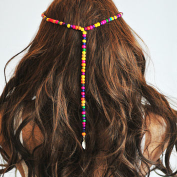 Boho Headband Beaded Hair Bands headpiece Head Jewelry Elastic Bohemian multicolor Headdress Gypsy  Hair Jewelry For Women gift ideas Hippie