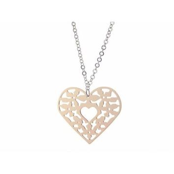 """Filigree Sterling Silver Pink Heart Pendant Necklace, 18""""+ 1"""""""