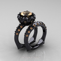 Classic 14K Black Gold 3.0 Ct Champagne Greek Galatea Wedding Ring Wedding Band Bridal Set AR114S-14KBGCHD