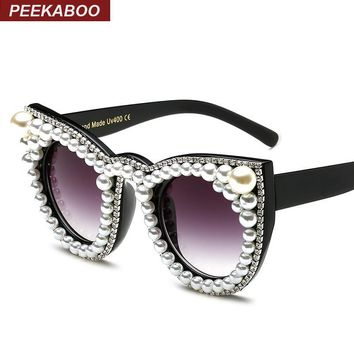 Peekaboo Fashion luxury rhinestone cat eye sunglasses women brand designer oversized cat sunglasses pearl ladies party black
