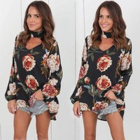 Arabelle Floral Choker Top (Black)