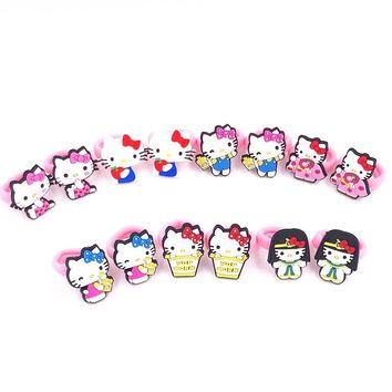 2017 New arrival 10 PCS Kids Rubber Headbands Soft Fabric Hello kitty Girls Hair accessories Elastic Hair Band Japanese style
