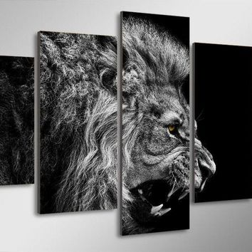 Lion Roaring Black and White Yellow Eyes Large Framed Canvas