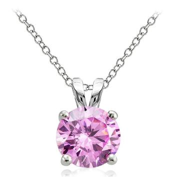 925 Sterling Silver 4ct Light Pink Cubic Zirconia 10mm Round Solitaire Necklace