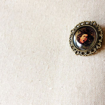 Medusa by Caravaggio - Handmade Vintage Cameo Pin Brooch - Art History Jewelry - Baroque Art