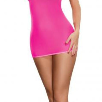 Club Seamless Neon Tube Dress & G-String Pink O/S