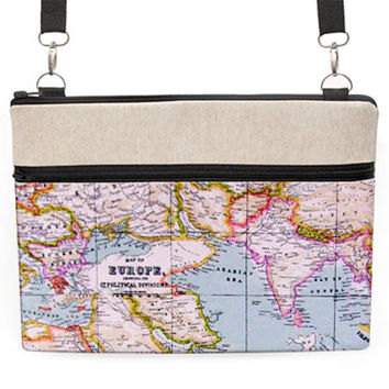 "Macbook 13"" Travel Bag, 13"" Laptop Shoulder Bag, 11 inch MacBook Cross Body, Laptop Zipper Case with Strap - vintage world map"