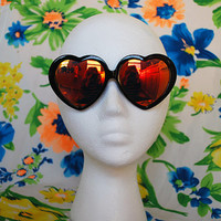 The Lana | Vintage Oversized Heart Shaped Plastic Sunglasses Revo Mirrored Rainbow Lenses