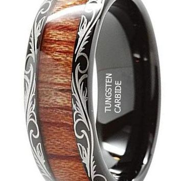 CERTIFIED 8MM Tungsten Rings For Men Wedding Band Koa Wood Inlaid Dome Edge