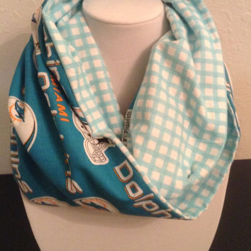Miami Dolphins Infinity Scarf - Woman's Cotton Cowl - Football - Turquoise Loop