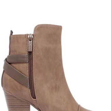 Swoon Walker Beige High Heel Ankle Boots