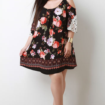 Floral Print Cold Shoulder Crochet Shift Dress | UrbanOG