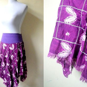 purple tie dyed asymmetrical skirt (28 inches)