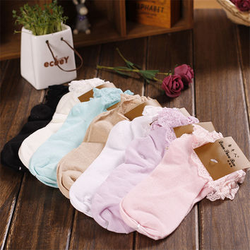 Fashion Women's Cotton Princess Girl Cute Sweet Womens Ladies Vintage Lace Ruffle Frilly Ankle Socks Female Solid Color Sock CB