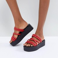 Vagabond Bonnie Red Strappy Leather Flatform Sandals at asos.com