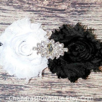 Black and White Rhinestone Lace Headband / Beautiful Headband / Baby Headband / Toddler Headband / Infant Headband / Baby Bows / Girls Hair