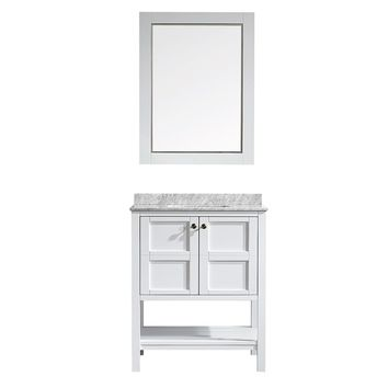 Vinnova Florence 30-inch White Single Vanity with Carrera White Marble Top, and Mirror | Overstock.com Shopping - The Best Deals on Bathroom Vanities
