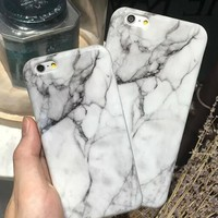 Unique White Marble Stone Case for iPhone 7 5s se 6 6s Plus + Gift Box-170928