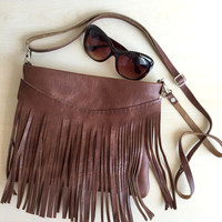 Fringe Leather Bag,Fringe Leather Purse,Brown Leather Crossbody Bag,Boho Fringe Messenger Bag,Brown leather Bag,Distressed Leather Bag