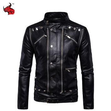 Trendy New Retro Vintage Motorcycle Jackets PU Leather Moto Jackets Men Multi Zippers Rivets Punk Biker Leather Stand Collar AT_94_13