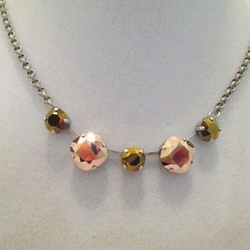 swarovski crystal five stone  necklace. rose gold and chocolate metallic stones, antique silver #282