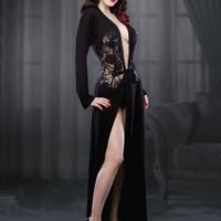 The Black Nell Robe, Black Robe/Dressing Gown, inspired by Marilyn Monroe, Pin-up Girl, Retro, Vintage Style, Size Large